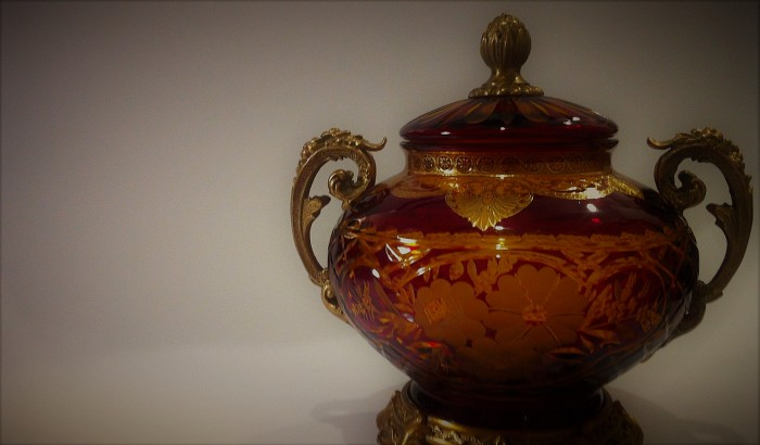 Antique Ruby Glass Candy Box