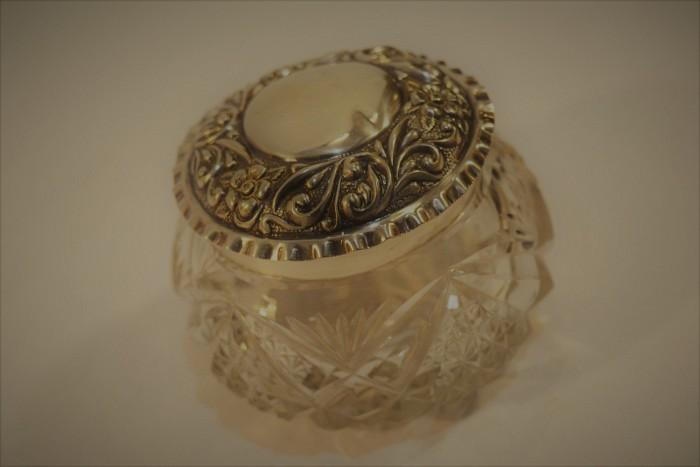 Crystal Sugar Bowl with Silver Lid