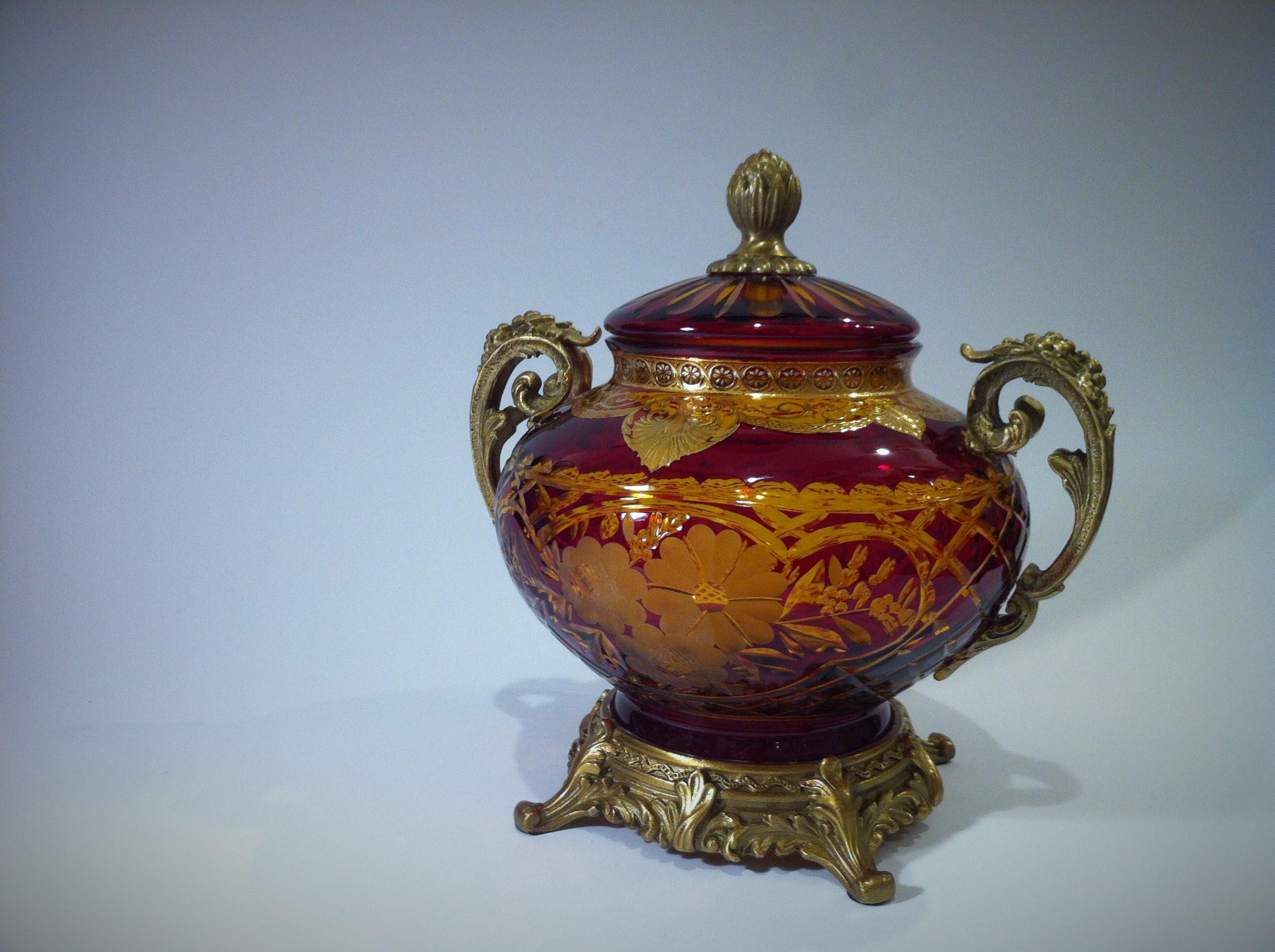 Antique Antique Ruby Glass Candy Box | Antik Spalato Shop