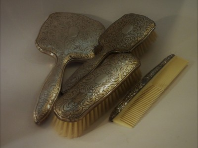Silver Comb Brushes & Mirror Set