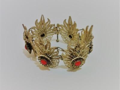 Filigree Silver Bracelet Coral
