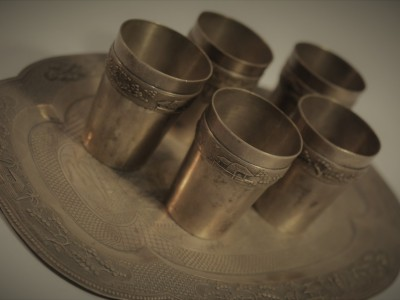 Silver Tray and 5 Cups