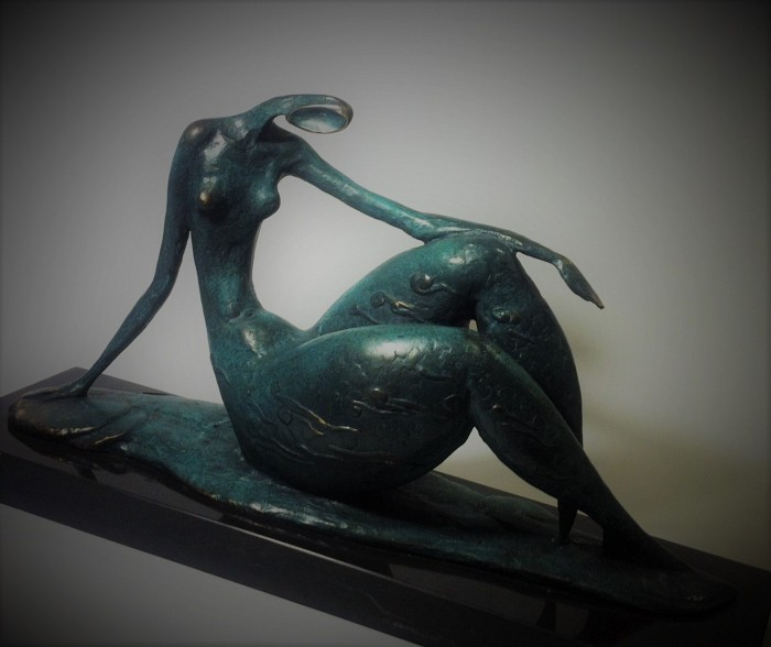 Sitting Abstract Nude Lady Bronze