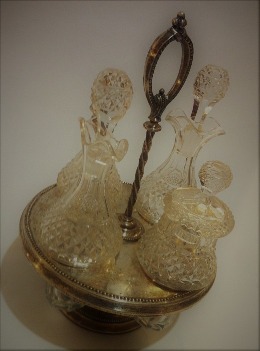 Condiment Set Silver & Crystal